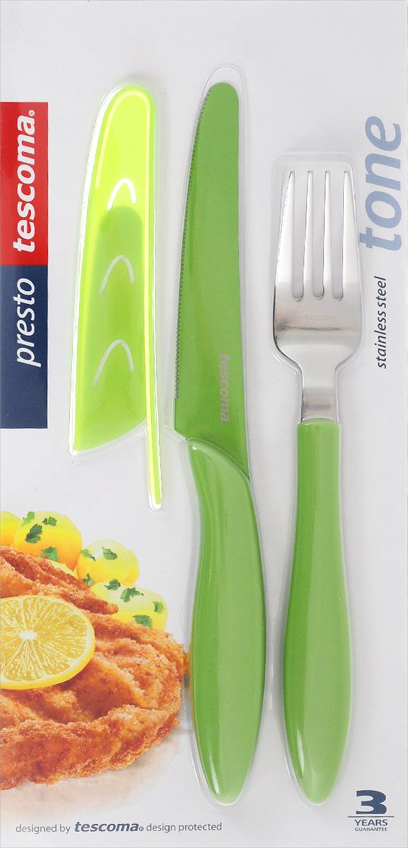 Набор столовых приборов Tescoma Presto Tone, цвет: салатовый, 3 предмета. 86314454 009312Набор столовых приборов Tescoma Presto Tone состоит из ножа, вилки и чехла для ножа. Столовые приборы выполнены из высококачественной нержавеющей стали. Рукоятки приборов и чехол изготовлены из пластика. Лезвие ножа имеет неприлипающую поверхность.Прекрасное сочетание свежего дизайна и удобство использования предметов набора придется по душе каждому. Можно мыть в посудомоечной машине.Общая длина ножа: 23 см.Длина лезвия ножа: 11,5 см.Общая длина вилки: 20 см.Размер чехла для ножа: 13 х 2,5 см.
