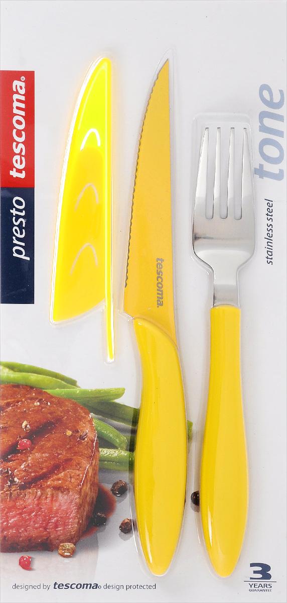 Набор столовых приборов Tescoma Presto Tone, цвет: желтый, 3 предмета. 863140863140_желтыйНабор столовых приборов Tescoma Presto Tone состоит из ножа для стейка, вилки и чехла для ножа. Столовые приборы выполнены из высококачественной нержавеющей стали. Рукоятки приборов и чехол изготовлены из пластика. Лезвие ножа имеет неприлипающую поверхность.Прекрасное сочетание свежего дизайна и удобство использования предметов набора придется по душе каждому. Можно мыть в посудомоечной машине.Общая длина ножа: 23 см.Длина лезвия ножа: 11,5 см.Общая длина вилки: 20 см.Размер чехла для ножа: 13,5 х 2,5 см.