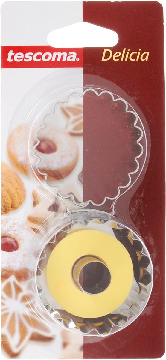 Пресс-форма для печенья Tescoma Круги, цвет: желтый, стальной, диаметр 5 см, 2 шт54 009312Пресс-форма Tescoma Круги для печенья выполнена из высококачественного металла и пластика. С помощью пресс-формы вырежьте из теста форму, перенесите на лист и нажатием пружины выдавите тесто.Не рекомендуется мыть в посудомоечной машине. Диаметр формы: 5 см.