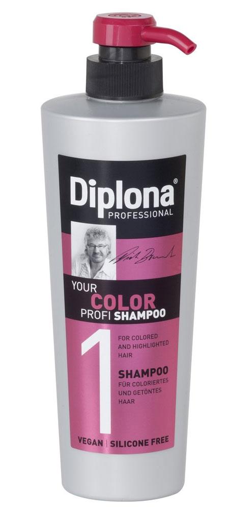 Шампунь Diplona Professional Your Color Profi, для окрашенных и мелированых волос, 600 млFS-00103Шампунь Diplona Professional Your Color Profi - бережный уход для окрашенных и мелированых волос. Основные компоненты:Масло жожоба - богато витамином Е, активизирует процессы регенерации. Обеспечивает защитный слой, не оставляет жирного блеска на коже и волосах. Пантенол - помогает восстановить поврежденные волосяные луковицы и секущиеся концы волос. УФ фильтр осторожно обволакивает волосы, тем самым защищая их от неблагоприятных факторов окружающей среды и предотвращая сухость, ломкость, потускнение и изменение цвета окрашенных и мелированных волос. Экстракт инжира - глубоко увлажняет и смягчает волосы, оказывает восстанавливающее действие. Витамин B3 - способствует росту волос. Характеристики: Объем: 600 мл. Производитель: Германия. Артикул: 95170.Diplona Professionalсуществует на немецком рынке более 40 лет, была разработана совместно с лучшим стилистом, неоднократным победителем конкурсов парикмахерского искусства Германии и основателем немецких салонов красоты с 60-летней историей Дитером Брюннетом.Товар сертифицирован.