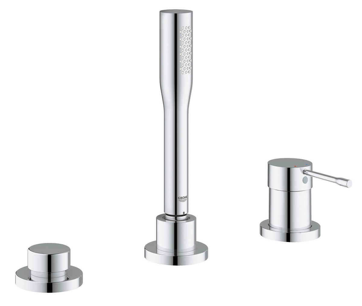 Смеситель для ванны Grohe Essence+, на 3 отверстия, с душевым гарнитуром68/5/1Смеситель для ванны Grohe Essence+ оснащен одной рукоятью для регулировки напора воды. Монтаж данной модели производиться на три отверстия. Для установки смесителя на бору ванны заранее вырезаются отверстия для установки. Модель монтируется на гайке, нижняя часть корпуса смесителя вставляется в отверстие для монтажа и с обратной стороны притягивается гайкой для фиксации. Выполнен в современном стиле, необычная модель с явно выраженным дизайнерским исполнением. Материал корпуса латунь - это надежный материал высокого качества, который обеспечивает идеальное нанесение хромированного покрытия. Модель традиционной округлой формы. Данная модель не оснащена изливом. Присоединительный размер 1/2. В комплекте инструкция по установке, гарантийный талон, душевой шланг, душевая лейка, держатель лейки, гибкая подводка.