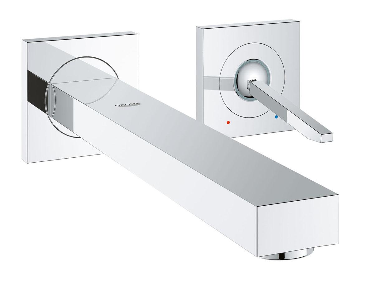 Смеситель для раковины Grohe Eurocube Joy, на 2 отверстия, высота излива 23 смRWH-V30-REСмеситель для раковины Grohe Eurocube Joy настенного монтажа идеально подойдет для тех, кто любит сдержанный и современный дизайн ванной комнаты. Этот смеситель на два отверстия также содержит в себе уникальные технологии Grohe. Многослойное, устойчивое к царапинам хромовое покрытие StarLight® сохранит свой блеск на долгие годы. Регулируемый аэратор AquaGuide позволяет точнее направить поток воды, куда вы хотите, в зависимости от глубины и кривизны вашей раковины. Брызг больше не будет! Этот впечатляющий смеситель прекрасно дополняет другие продукты в коллекции, такие как однорычажный смеситель для биде Eurocube Joy.