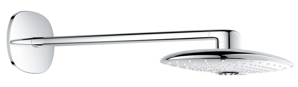 Душ верхний Grohe Rainshower, с кронштейном, 2 режима, диаметр 300 ммBL505Верхний душ Grohe Rainshower, выполненный из латуни с хромированной поверхностью, оснащен горизонтальным кронштейном. Такой душ воплощает в себе стильную простоту и комфорт виспользовании. Внутренняя конструкция изделия обеспечивает достаточный напор струи даже при низком давлении воды в системе водопровода. Особенности:- система SpeedClean против известковых отложений;- внутренний охлаждающий канал для продолжительного срока службы;- может использоваться с проточным водонагревателем;- горизонтальный душевой кронштейн 450 мм.