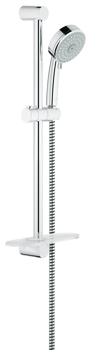 Душевой гарнитур Grohe Tempesta Cosmopolitan, с полочкой, с ограничением расхода воды27576001Душевой комплект Grohe воплощает в себе стильную простоту и комфорт в использовании. Комплект состоит из ручного душа, душевой штанги (600 мм) и шланга (1750 мм), изготовленных из высококачественной латуни. Хромированное покрытие StarLight придает изделию яркий металлический блеск и эстетичный внешний вид. Душевой комплект Grohe удобен и практичен в работе.Особенности:- превосходный поток воды;- система SpeedClean против известковых отложений;- внутренний охлаждающий канал для продолжительного срока службы;- технология совершенного потока при уменьшенном расходе воды;- может использоваться с проточным водонагревателем.