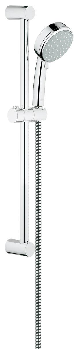 Душевой гарнитур Grohe Tempesta CosmopolitanAL803Душевой комплект Grohe воплощает в себе стильную простоту и комфорт в использовании. Комплект состоит из ручного душа, душевой штанги (600 мм) и шланга (1750 мм), изготовленных из высококачественной латуни. Хромированное покрытие StarLight придает изделию яркий металлический блеск и эстетичный внешний вид. Душевой комплект Grohe удобен и практичен в работе.Особенности:- превосходный поток воды;- система SpeedClean против известковых отложений;- внутренний охлаждающий канал для продолжительного срока службы;- технология совершенного потока при уменьшенном расходе воды;- силиконовое кольцо, предотвращающее повреждение поверхности при падении ручного душа. Может использоваться с проточным водонагревателем.