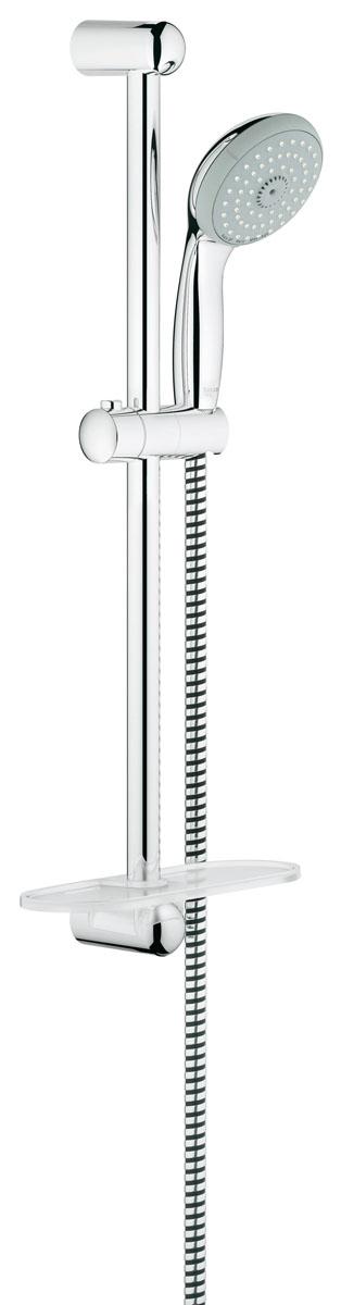 Душевой гарнитур Grohe Tempesta, с полочкой13296Душевой комплект Grohe воплощает в себе стильную простоту и комфорт в использовании. Комплект состоит из ручного душа, душевой штанги (600 мм) и шланга (1750 мм), изготовленных из высококачественной латуни. Хромированное покрытие StarLight придает изделию яркий металлический блеск и эстетичный внешний вид. Душевой комплект Grohe удобен и практичен в работе.Особенности:- превосходный поток воды;- система SpeedClean против известковых отложений;- внутренний охлаждающий канал для продолжительного срока службы;- технология совершенного потока при уменьшенном расходе воды;- силиконовое кольцо, предотвращающее повреждение поверхности при падении ручного душа. Может использоваться с проточным водонагревателем.