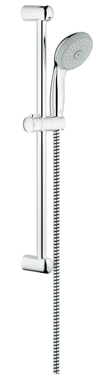 Душевой гарнитур Grohe Tempesta Classic. 27645000VBA390K008Душевой комплект Grohe воплощает в себе стильную простоту и комфорт в использовании. Комплект состоит из ручного душа, душевой штанги (600 мм) и шланга (1750 мм), изготовленных из высококачественной латуни. Хромированное покрытие StarLight придает изделию яркий металлический блеск и эстетичный внешний вид. Душевой комплект Grohe удобен и практичен в работе.Особенности:- превосходный поток воды;- система SpeedClean против известковых отложений;- внутренний охлаждающий канал для продолжительного срока службы;- технология совершенного потока при уменьшенном расходе воды;- силиконовое кольцо, предотвращающее повреждение поверхности при падении ручного душа. Может использоваться с проточным водонагревателем.
