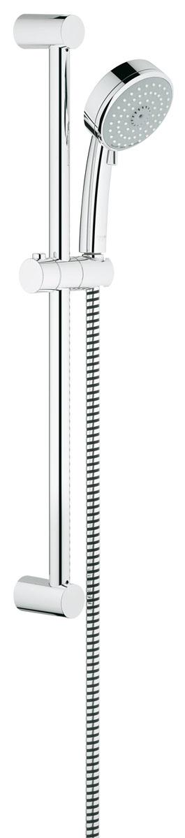 Душевой гарнитур Grohe Tempesta Cosmopolitan. 2778600127786001Душевой комплект Grohe воплощает в себе стильную простоту и комфорт в использовании. Комплект состоит из ручного душа, душевой штанги (600 мм) и шланга (1750 мм), изготовленных из высококачественной латуни. Хромированное покрытие StarLight придает изделию яркий металлический блеск и эстетичный внешний вид. Душевой комплект Grohe удобен и практичен в работе.Особенности:- превосходный поток воды;- система SpeedClean против известковых отложений;- внутренний охлаждающий канал для продолжительного срока службы;- может использоваться с проточным водонагревателем.