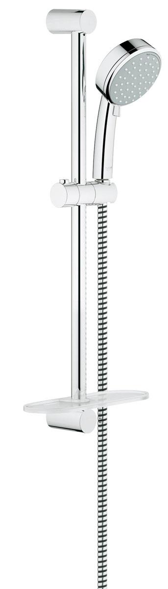 Душевой гарнитур Grohe Tempesta Cosmopolitan, с полочкойBL505Душевой комплект Grohe воплощает в себе стильную простоту и комфорт в использовании. Комплект состоит из ручного душа, душевой штанги (600 мм) и шланга (1750 мм), изготовленных из высококачественной латуни. Хромированное покрытие StarLight придает изделию яркий металлический блеск и эстетичный внешний вид. Душевой комплект Grohe удобен и практичен в работе.Особенности:- превосходный поток воды;- система SpeedClean против известковых отложений;- внутренний охлаждающий канал для продолжительного срока службы;- технология совершенного потока при уменьшенном расходе воды;- может использоваться с проточным водонагревателем.