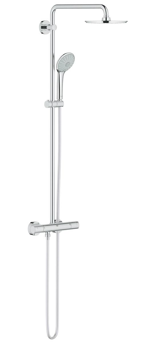 Система душевая Grohe Euphoria, с термостатом. 27964000BL505Душевая система Grohe Euphoria воплощает в себе стильную простоту и комфорт в использовании. Многофункциональная система состоит из верхнего душа, смесителя с термостатом и душа ручного. Верхний душ вмонтирован, выступающая часть удобно изогнута. Термостат позволяет автоматически поддержать заданную температуру воды, а также постоянного ее напора (расхода).Система удобна в работе, практична в использовании, позволяя разнообразить прием душевых процедур. Особенности:- Превосходный поток воды Grohe DreamSpray®;- Хромированная поверхность Grohe StarLight®;- Встроенный термоэлемент Grohe TurboStat® с системой SpeedClean против известковых отложений;- Внутренний охлаждающий канал для продолжительного срока службы;- Twistfree против перекручивания шланга;- Совместим с проточным водонагревателем от 18 kВ/ч;- Минимальное давление 1,0 бар.Диаметр ручного душа: 11 см. Диаметр верхнего душа: 21 см. Длина поворотного кронштейна: 45 см. Угол поворота кронштейна: ± 15°.Высота шланга: 175 см.