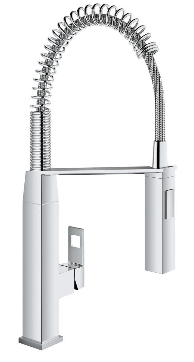 Смеситель для кухни Grohe EurocubeSWH RS1 100 VHСпроектированный в чистом, стильном дизайне, в соответствии с вашей современной кухней, смеситель Grohe Eurocube обладает всеми функциями, которые проницательные повара будут искать в кране: - профессиональный гибкий излив на пружине, с углом поворота излива 360° и возможность переключения между мощный душевым потоком и обычной струей одним нажатием кнопки, смеситель позволяет с легкостью заполнять и промывать кастрюли или мыть рабочую поверхность; - интегрированная технология SilkMove для керамических картриджей обеспечивает плавный и легкий контроль температуры воды и расхода. Выполненный в износостойком хромовом покрытии StarLight, он будет выглядеть безупречно в глянце даже после нескольких лет использования.