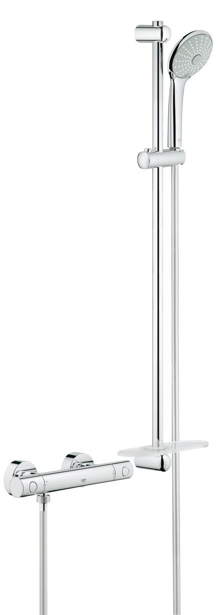 """Термостат для душа GROHE Grohtherm 1000 Cosmopolitan New с душевым гарнитуром (штанга 900 мм) (34321002)20021с душевым гарнитуромвключает в себя:Grohtherm 1000 Cosmopolitan M Термостат для душа 1/2""""(34 065 002)Euphoria 110 Massage Душевой гарнитур, 900 мм (27 226 001)Внутренний охлаждающий канал для продолжительного срока службыGROHE DreamSpray® превосходный поток водыGROHE StarLight® хромированная поверхность GROHE SprayDimmerПолочка GROHE EasyReach™ (27 596 000)с системой SpeedClean против известковых отложенийTwistfree против перекручивания шлангаминимальное давление 1,0 бар"""