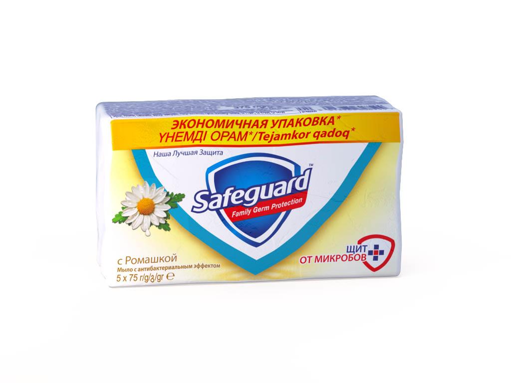 Safeguard Антибактериальное мыло Ромашка, 5 х 75 г67024342Мыло Safeguard на 100% рекомендовано специалистами по всему миру! Антибактериальное мыло Safeguard Ромашка в экономичной упаковке 5 шт по 75г. уничтожает до 99,9% всех известных болезнетворных бактерий и ухаживает за кожей рук:• поверхностно активные вещества эффективно удаляют все виды микробов в момент смывания• антибактериальный комплекс обеспечивает защиту от самых опасных граммоположительных бактерии (Стрептококк, Стафилококк) до 12 часов после смывания• смягчающие компоненты оказывают успокаивающее воздействие на кожу рук, и ваши руки сияют здоровьемЭто мыло - просто находка! Отличная защита от микробов, не вызывает раздражения, пользуемся всей семьей