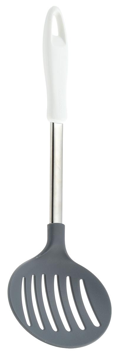 Шумовка Tescoma Presto, длина 34 см54 009312Шумовка Tescoma Presto, изготовленная из высококачественной нержавеющей стали и нейлона, поможет вам без особого труда снять пену, вынуть из кастрюли мясо или рыбу. Изделие оснащено эргономичной пластиковой ручкой, которая не скользит в руках и обеспечивает надежный хват. Шумовка Tescoma Presto займет достойное место среди аксессуаров на вашей кухне.Можно мыть в посудомоечной машине.Общая длина шумовки: 34 см.Размер рабочей части шумовки: 12 х 11,5 см.