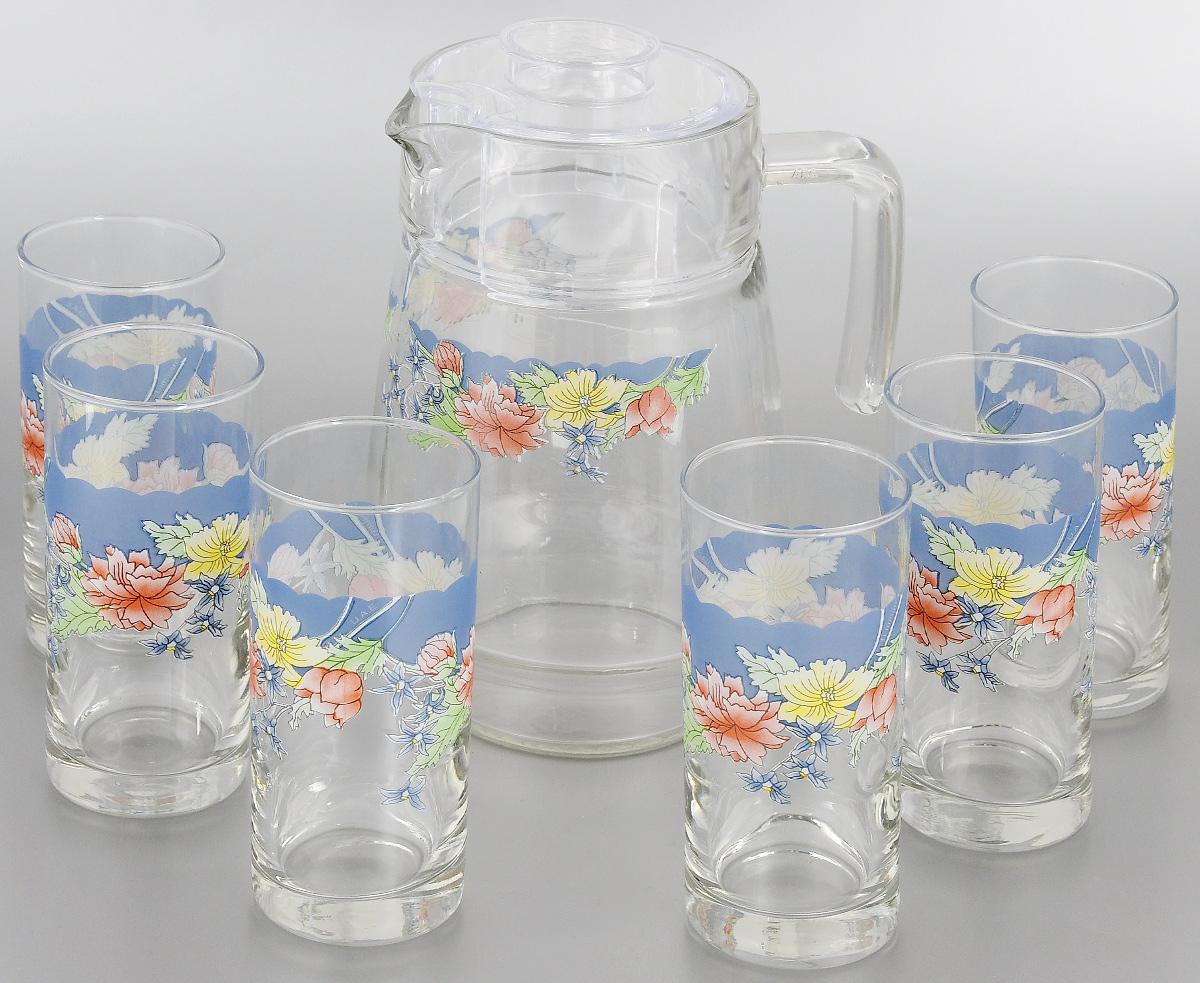 Набор питьевой Luminarc Florine, 7 предметов111311-000Питьевой набор Luminarc Florine состоит из 6 стаканов и кувшина с пластиковой крышкой. Изделия выполнены из высококачественного прочного стекла и декорированы красивым цветочным рисунком. Набор прекрасно подходит для сока, воды, лимонада и других напитков. Изделия устойчивы к повреждениям и истиранию, в процессе эксплуатации не впитывают запахи и сохраняют первоначальные краски. Посуда Luminarc обладает не только высокими техническими характеристиками, но и красивым эстетичным дизайном. Luminarc - это современная, красивая, практичная столовая посуда.Можно мыть в посудомоечной машине. Объем кувшина: 1,6 л. Диаметр кувшина по верхнему краю: 10 см. Высота кувшина (без учета крышки): 20,5 см. Объем стакана: 270 мл. Диаметр стакана по верхнему краю: 6 см. Высота стакана: 13,5 см.