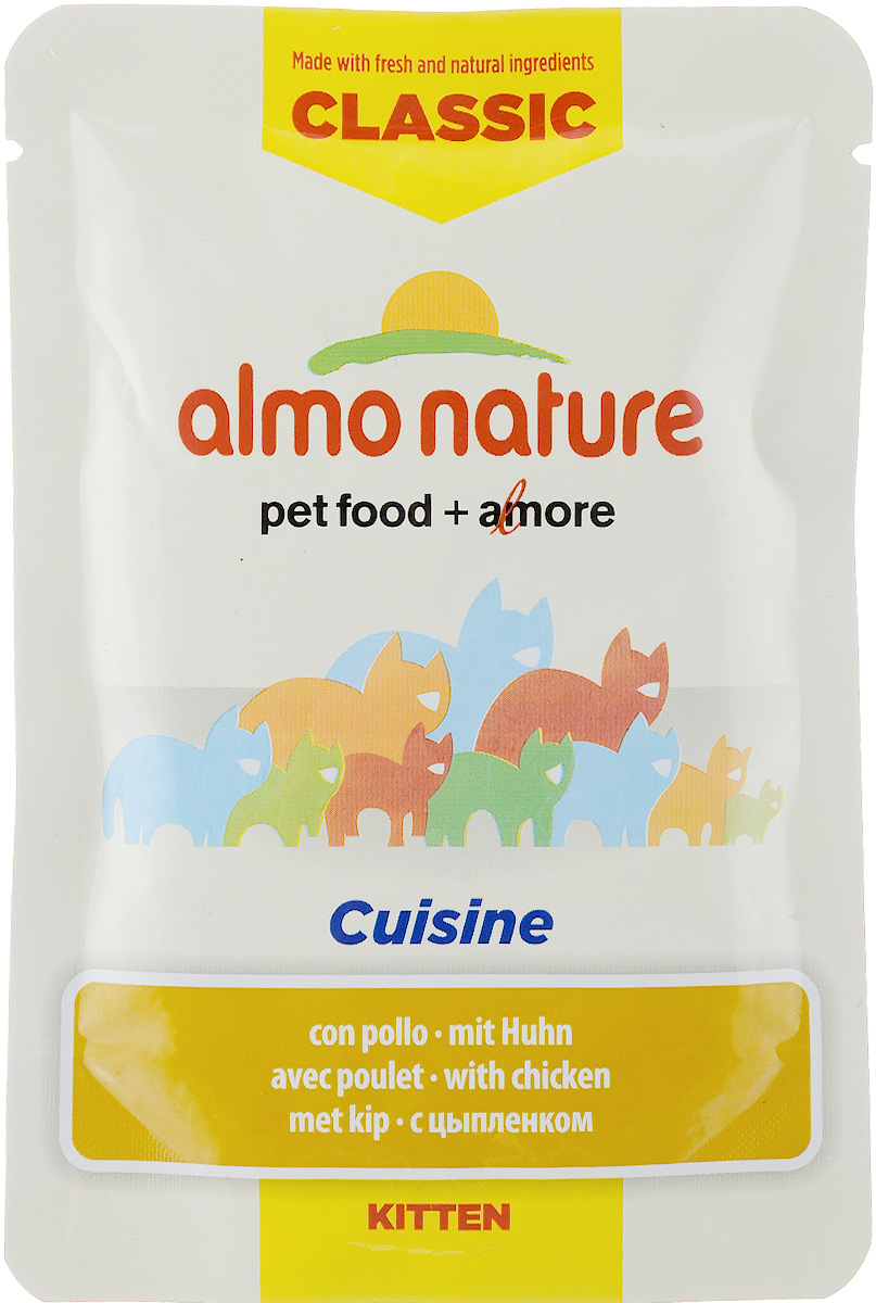 Консервы для котят Almo Nature Classic Cuisine, с цыпленком, 55 г0120710Консервы для котят Almo Nature - полнорационный корм для котят. Консервы приготовлены из свежих и натуральных ингредиентов. Состав: куриный бульон, цыпленок 40%, рис 8%, сыр 3%, куриная печень 2%, подсолнечное масло 2%, яичный порошок 2%, витамины и минералы, соль 0,1%, хлорид холина 0,05%. Добавки: витамин A 9300 IU/кг, витамин D3 300 IU/кг, витамин E 50 мг/кг, витамин K3 0,1 мг/кг, витамин B1 15 мг/кг, витамин B2 2 мг/кг, витамин B12 0,01 мг/кг, биотин 0,05 мг/кг, ниацин 20 мг/кг, пантотеновая кислота 4 мг/кг, витамин B6 2 мг/кг, фолиевая кислота 0,5 мг/кг, марганец 2 мг/кг, медь 0,8 мг/кг, йод 0,05 мг/кг, селен 0,03 мг/кг, цинк 22 мг/кг, железо 21 мг/кг, кальций 2100 мг/кг. Гарантированный анализ: белки 9%, клетчатка 0,1%, жиры 6,5%, зола 1,5%, влага 77%. Энергетическая ценность: 860 ккал/кг. Товар сертифицирован.