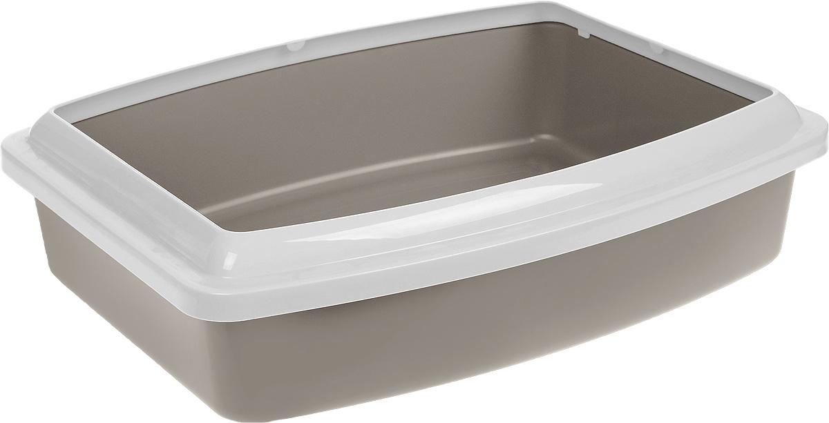 Туалет для кошек Savic  Oval Trays Jumbo , с бортом, цвет: серо-коричневый, светло-серый, 56 х 43,5 х 14,5 см