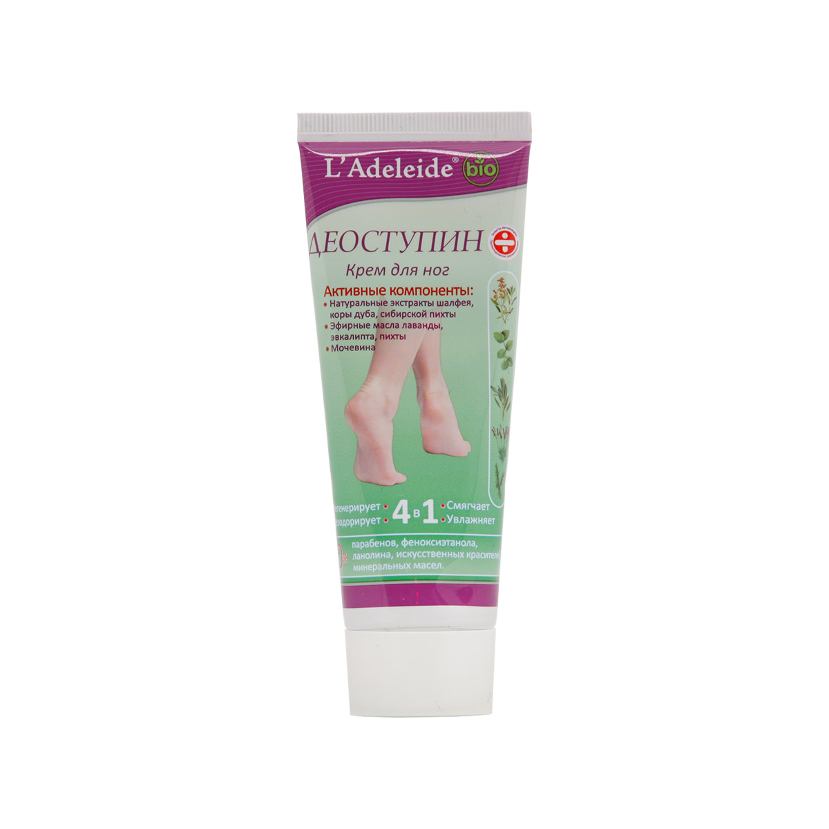 LAdeleide Крем для ног Деоступин, 75 мл1106329972Крем для ног с дезодорирующим эффектом. Косметический крем для ног Деоступин - идеальное средство для ухода за сухой, потрескавшейся кожей ног. Быстро впитывается, эффективно смягчает, глубоко питает и увлажняет. Придает коже гладкость, упругость и эластичность. Активные компоненты: Натуральные экстракты шалфея, коры дуба, сибирской пихты. Эфирные масла лаванды, эвкалипта, пихты.