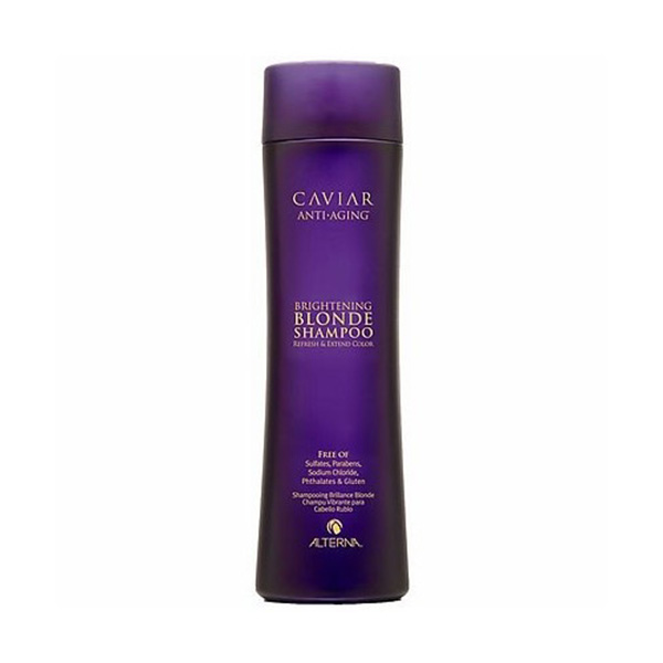 Alterna Шампунь c морским шелком для cветлых волос Caviar Anti-Aging Seasilk Blonde Shampoo - 250 млE0641181В состав продукта входят экстракты водорослей и черной икры, которые обеспечивают надежную защиту цвета и препятствуют процессам старения. Шампунь для светлых волос Альтерна содержит витамины и минералы, которые насыщают волосы здоровьем и силой.Результат: После применения шампуня волосы становятся эластичными и шелковистыми, они легко расчесываются и блестят.