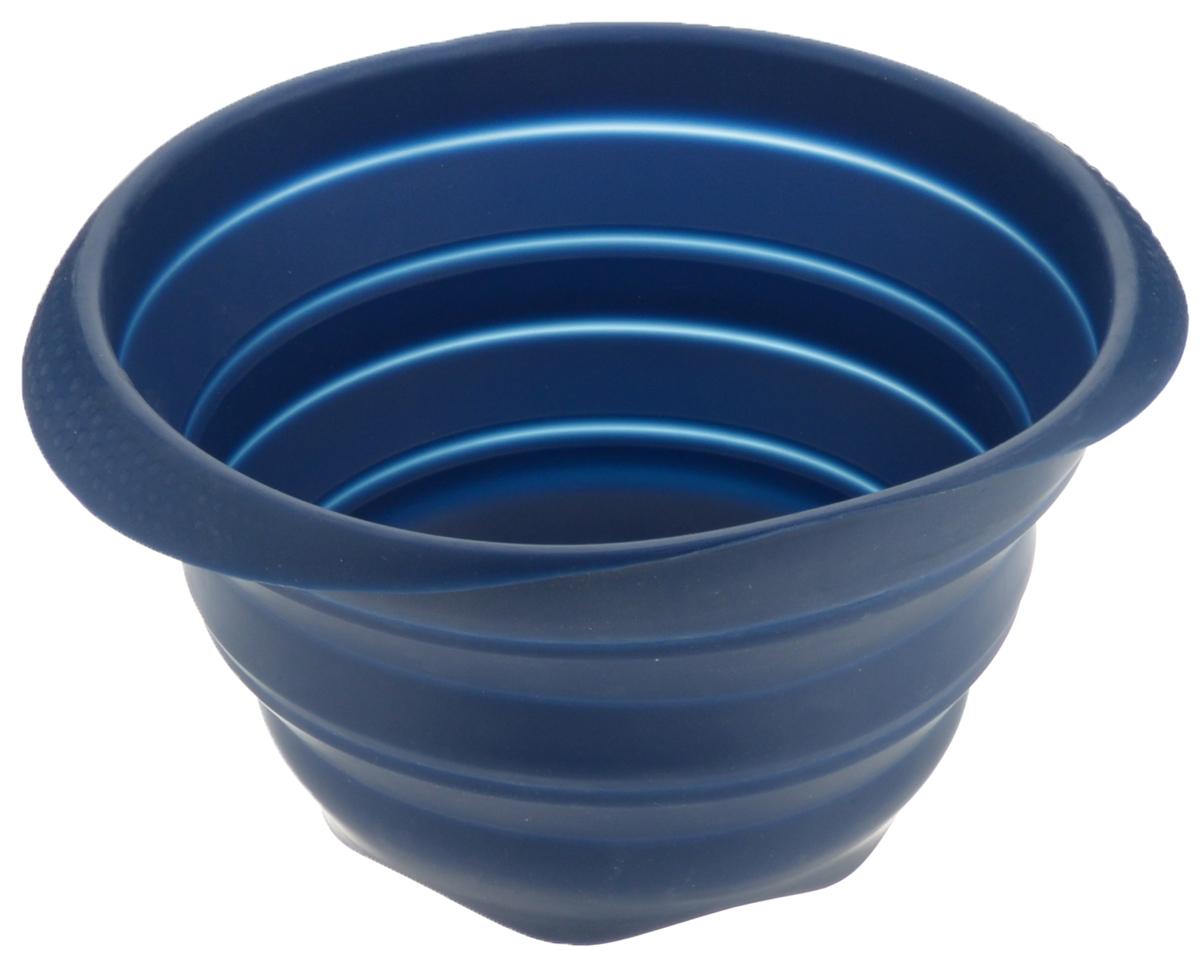 Миска складная Tescoma Fusion, силиконовая, цвет: синий, диаметр 24 см638414_синийСкладная миска Tescoma Fusion, изготовленная из первоклассного жароупорного силикона, станет полезным приобретением для вашей кухни. Изделие отлично складывается, можно быстро разложить и сложить, легко моется. Обладает термостойкостью от -40°C до +230°C.Миска пригодна для всех видов духовок, микроволновой печи, холодильника, морозильника.Можно мыть в посудомоечной машине.Диаметр миски: 24 см.Ширина миски (с учетом ручек): 27 см.Высота миски (в разложенном виде): 14 см.Высота миски (в сложенном виде): 4,5 см.