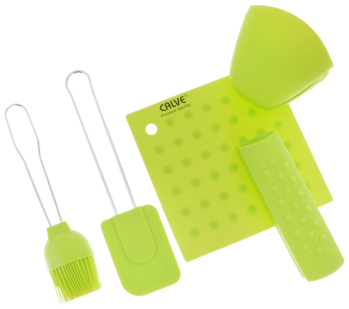 Набор для выпечки Calve, цвет: салатовый, 5 предметов115610Набор для выпечки Calve состоит из подставки под горячее, лопатки, кисточки, прихватки на ручку и прихватки для пальцев. Это самые востребованные приборы для приготовления выпечки. Все предметы набора выполнены из высококачественного и термостойкого силикона. Ручки лопатки и кисточки выполнены из нержавеющей стали. Изделия безопасны для посуды с антипригарным и керамическим покрытием. Набор для выпечки Calve станет отличным дополнением к коллекции ваших кухонных аксессуаров. Размер подставки под горячее: 17 х 17 см.Размер рабочей поверхности лопатки: 8,5 х 6 х 1 см.Общая длина лопатки: 25 см.Размер рабочей поверхности кисти: 8 х 5 х 2,3 см.Общая длина кисти: 21,5 см.Размер прихватки для пальцев: 10 х 9 х 8 см. Длина прихватки на ручку: 15,5 см.