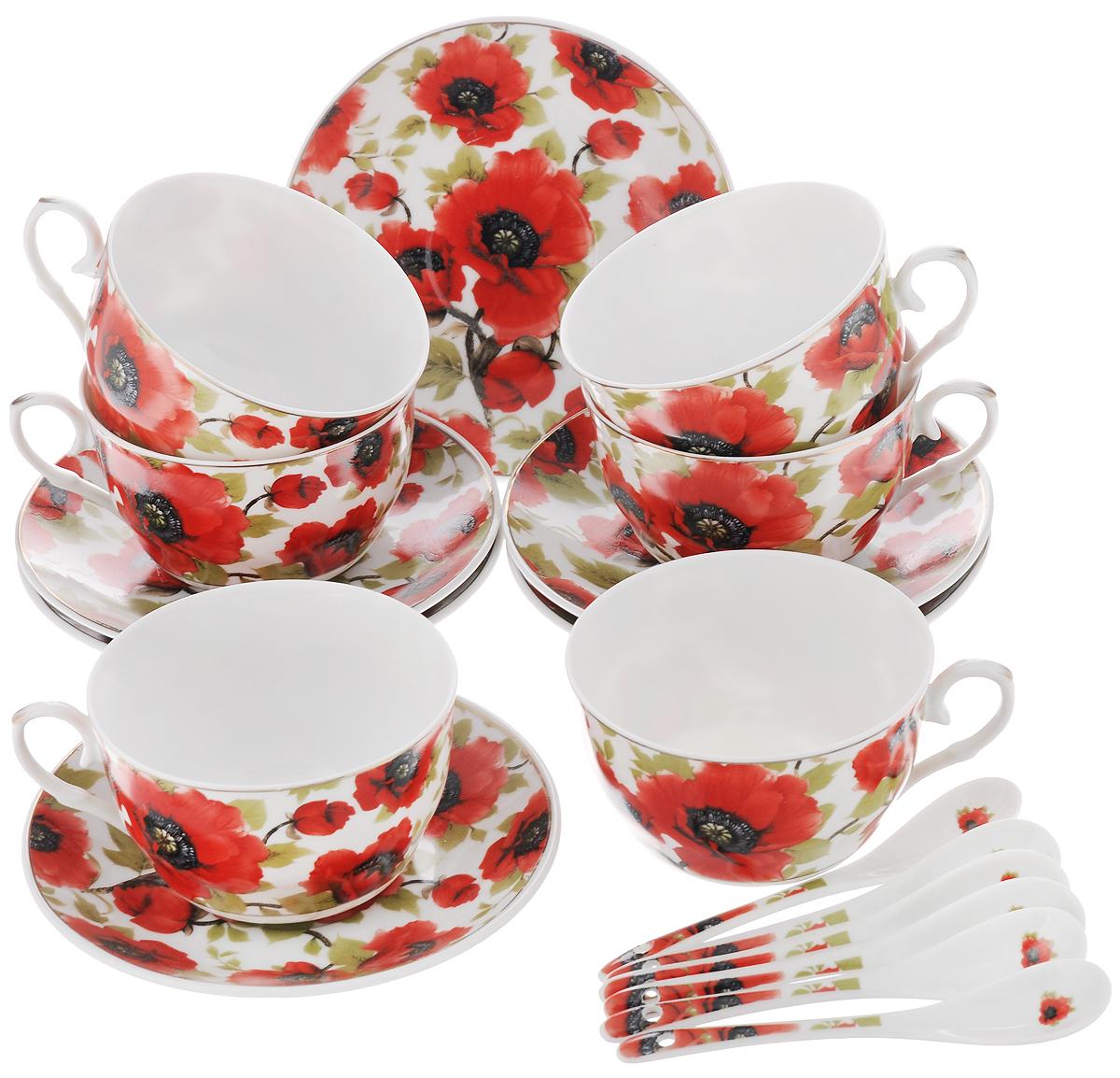 Набор чайный Elan Gallery Маки, с ложками, 18 предметовVT-1520(SR)Чайный набор Elan Gallery Маки состоит из 6 чашек, 6 блюдец и 6 ложечек,изготовленных из высококачественной керамики. Предметы набора декорированы изображением цветов.Чайный набор Elan Gallery Маки украсит ваш кухонный стол, а такжестанет замечательным подарком друзьям и близким.Изделие упаковано в подарочную коробку с атласной подложкой. Не рекомендуется применять абразивные моющие средства. Не использовать в микроволновой печи.Объем чашки: 250 мл.Диаметр чашки по верхнему краю: 9,5 см.Высота чашки: 6 см.Диаметр блюдца: 14 см.Длина ложки: 12,5 см.