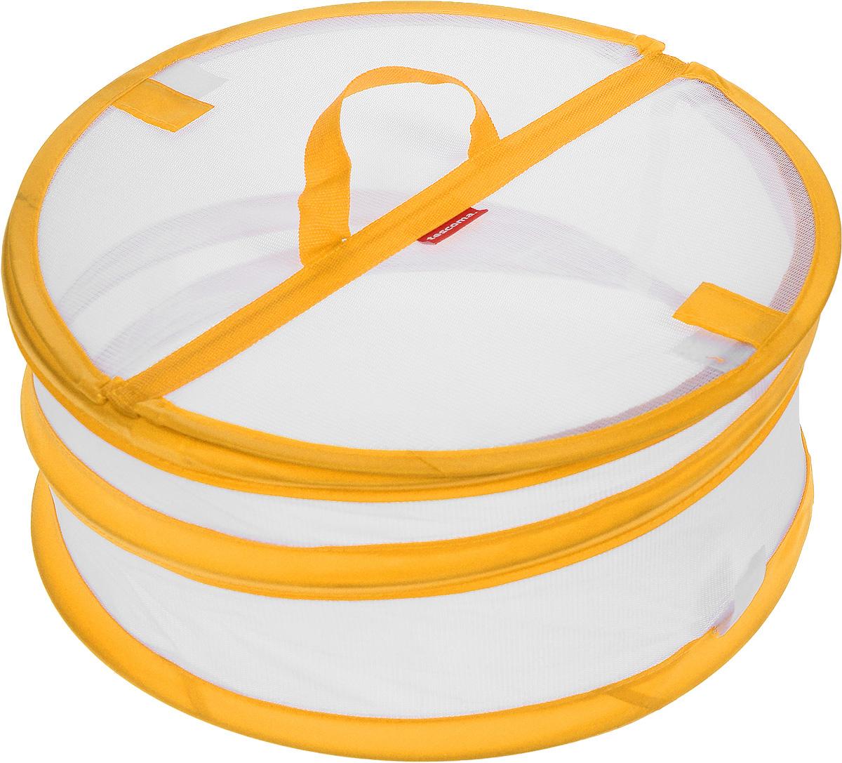 Крышка для пищевых продуктов Tescoma Delicia, складная, цвет: белый, оранжевый, диаметр 30 см630850_оранжевыйКрышка для пищевых продуктов Tescoma Delicia защитит еду от пыли и насекомых дома и на открытом воздухе. Крышка изготовлена из сетчатого текстиля и оснащена гибким металлическим каркасом. Просто составьте посуду с едой и накройте ее крышкой. Для легкого доступа изделие снабжено откидным верхом на липучке. Крышка легко складывается и раскладывается, при хранении занимает минимум пространства. Высота в разложенном виде: 15 см. Высота в сложенном виде: 1 см.