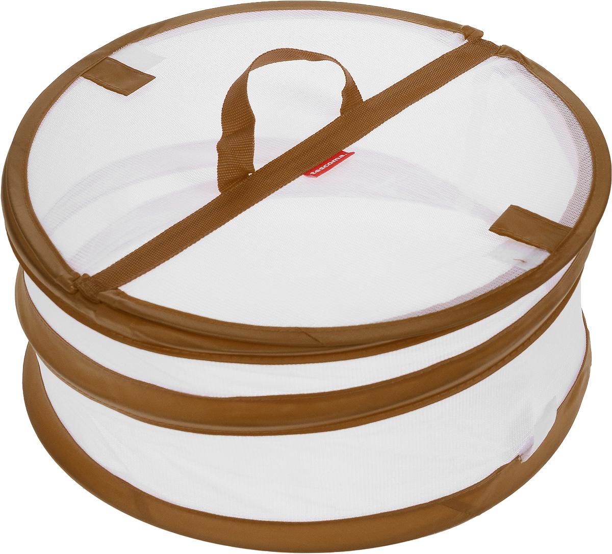 Крышка для пищевых продуктов Tescoma Delicia, складная, цвет: белый, коричневый, диаметр 30 см630850Крышка для пищевых продуктов Tescoma Delicia защитит еду от пыли и насекомых дома и на открытом воздухе. Крышка изготовлена из сетчатого текстиля и оснащена гибким металлическим каркасом. Просто составьте посуду с едой и накройте ее крышкой. Для легкого доступа изделие снабжено откидным верхом на липучке. Крышка легко складывается и раскладывается, при хранении занимает минимум пространства. Высота в разложенном виде: 15 см. Высота в сложенном виде: 1 см.