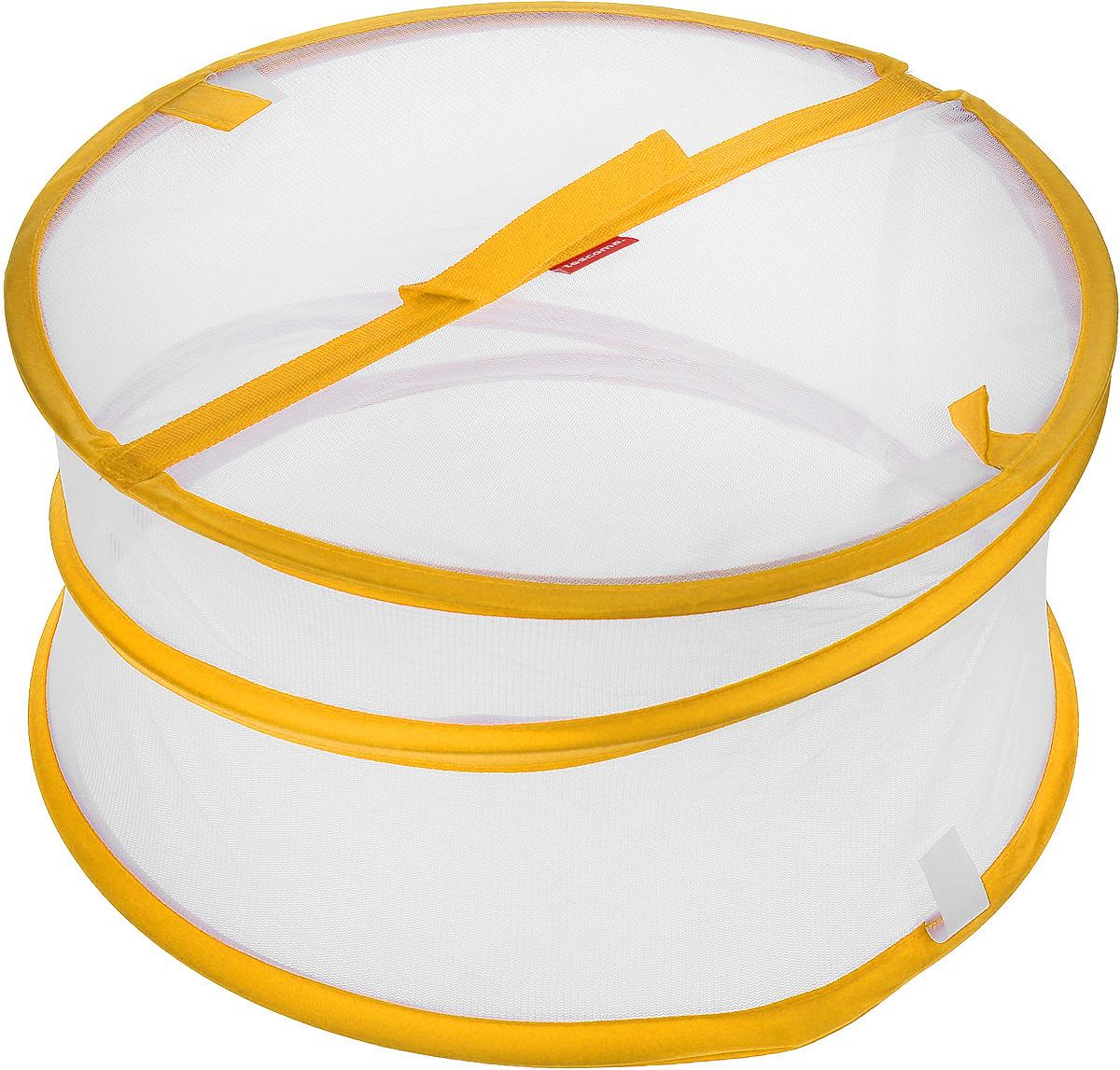 Крышка для пищевых продуктов Tescoma Delicia, складная, цвет: белый, оранжевый, диаметр 35 см391602Крышка для пищевых продуктов Tescoma Delicia защитит еду от пыли и насекомых дома и на открытом воздухе. Крышка изготовлена из сетчатого текстиля и оснащена гибким металлическим каркасом. Просто составьте посуду с едой и накройте ее крышкой. Для легкого доступа изделие снабжено откидным верхом на липучке. Крышка легко складывается и раскладывается, при хранении занимает минимум пространства. Высота в разложенном виде: 20 см. Высота в сложенном виде: 1 см.
