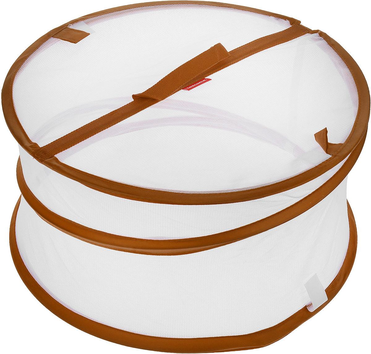 Крышка для пищевых продуктов Tescoma Delicia, складная, цвет: белый, коричневый, диаметр 35 см68/5/3Крышка для пищевых продуктов Tescoma Delicia защитит еду от пыли и насекомых дома и на открытом воздухе. Крышка изготовлена из сетчатого текстиля и оснащена гибким металлическим каркасом. Просто составьте посуду с едой и накройте ее крышкой. Для легкого доступа изделие снабжено откидным верхом на липучке. Крышка легко складывается и раскладывается, при хранении занимает минимум пространства. Высота в разложенном виде: 20 см. Высота в сложенном виде: 1 см.