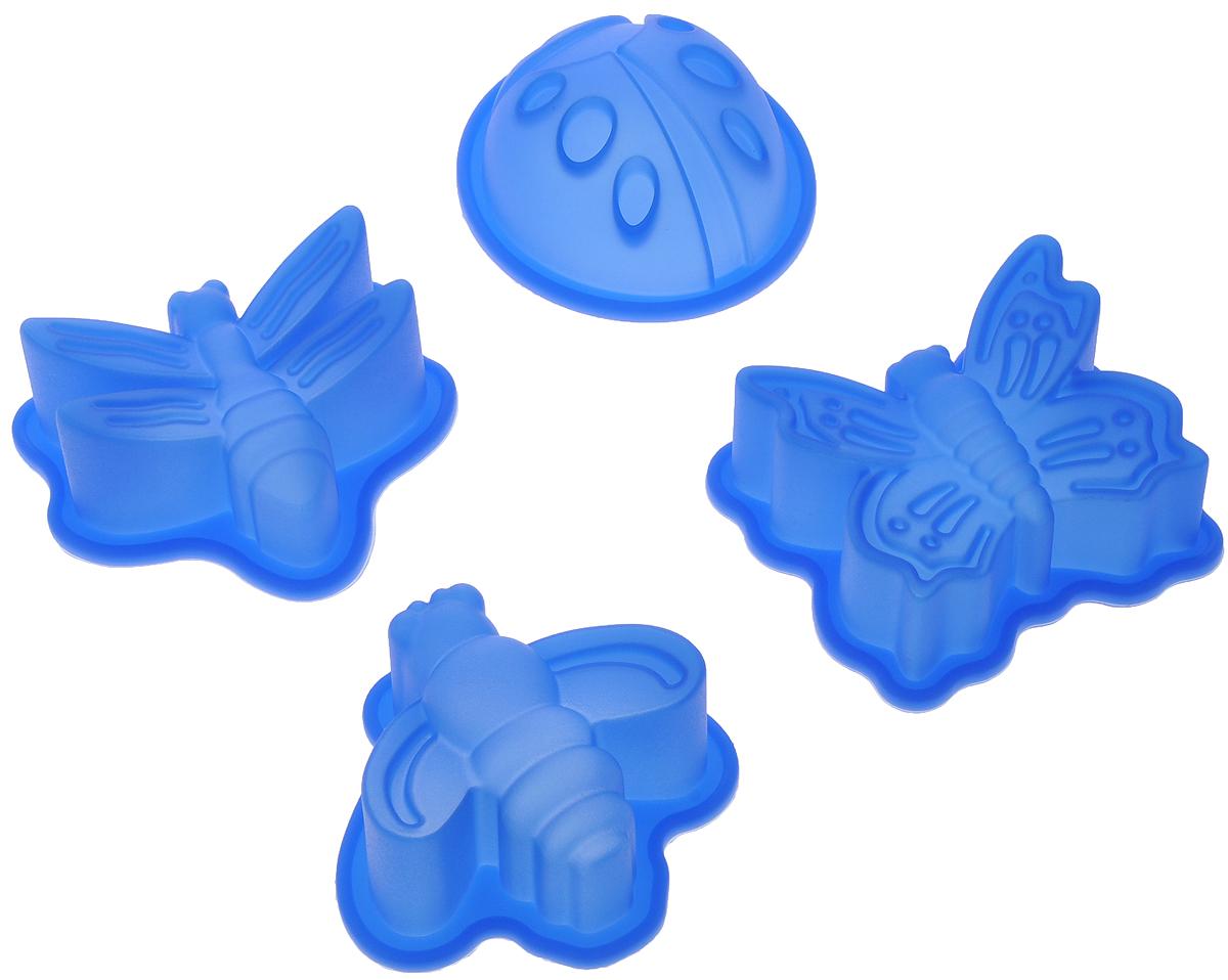 Набор форм для выпечки Mayer & Boch, цвет: синий, 4 шт54 009312Набор Mayer & Boch состоит из 4 форм, которые выполнены в виде насекомых. Изделияизготовлены из высококачественного силикона,выдерживающего температуру от -40°C до +210°C. Если вы любите побаловать своих домашних вкусным и ароматным угощением повашему оригинальному рецепту, то формы Mayer & Boch как раз то, что вам нужно!Можно использовать в духовом шкафу и микроволновой печи без использованиярежима гриль.Подходит для морозильной камеры и мытья в посудомоечной машине.Размеры формы: 7 х 7 х 3 см.