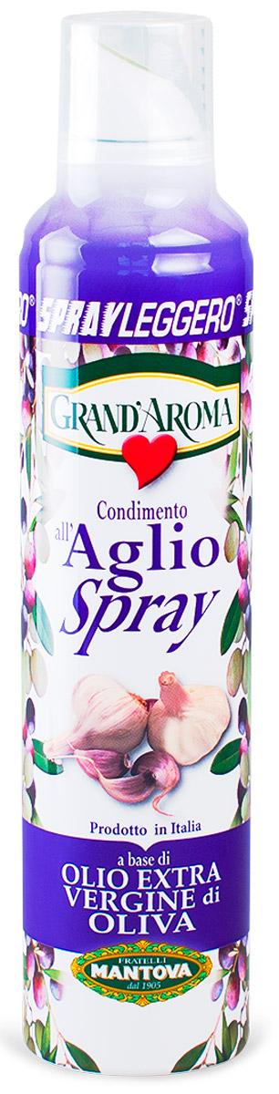 Fratelli Mantova Extra Virgin оливковое масло с чесноком спрей, 250 мл11187Оливковое масло холодного отжима (Эктра Верджине) с ароматом чеснока. Масло упаковано в баллончик под давлением, которым легко пользоваться. Легко в использовании. В зависимости от силы надавливания, есть три вида распыления: капли, струя, разбрызгивание.