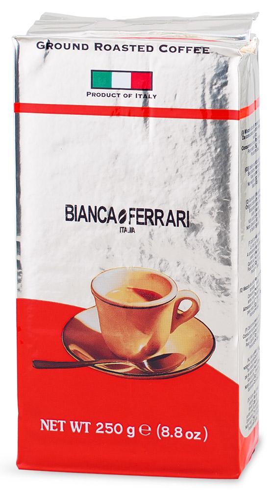 Bianca Ferrari Граундкофе Интенсо кофе молотый, 250 гBF.25.INBianca Ferrari Граундкофе Интенсо - натуральный молотый кофе для приготовления изысканного напитка как в турке, так и в кофемашинах и кофеварках. Послевкусие - плотное и долгоиграющее. При заваривании получается насыщенный напиток, обладающий устойчивой пенкой.