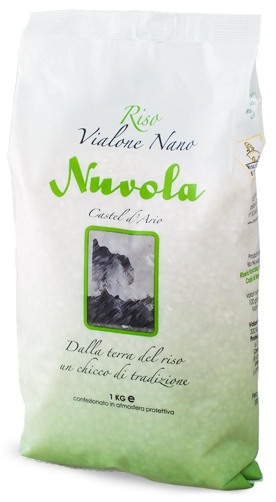 Riso Nuvola Виалоне Нано рис, 1 кг0120710Riso Nuvola Виалоне Нано - сорт риса, отличающийся от других повышенным содержанием крахмала, но, в то же время, сохраняющий форму при варке. Обеспечит идеальное качество и отменный вкус ризотто. Особо рекомендуется для приготовления блюда с морепродуктами.