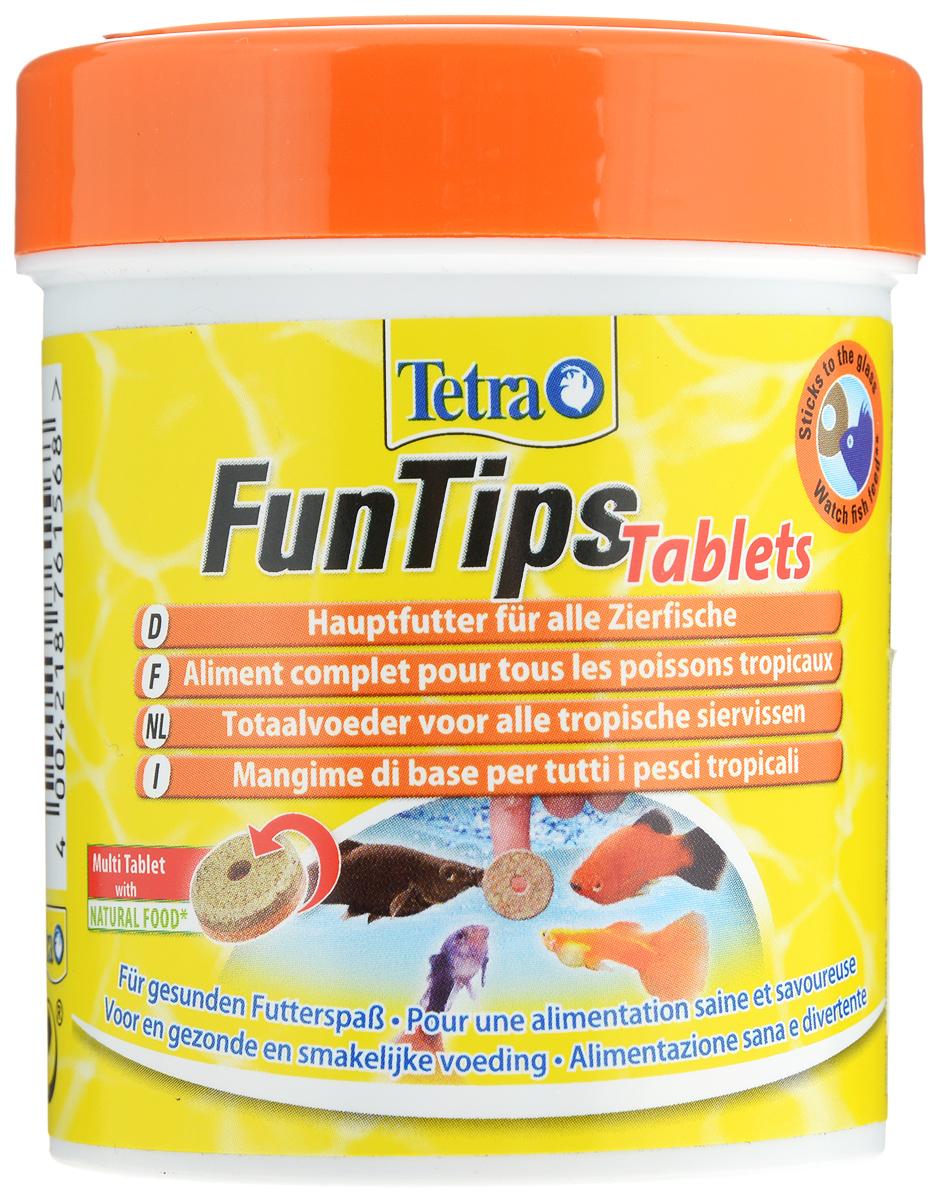 Корм Tetra FunTips Tablets для всех видов тропических рыб, 150 мл (65 г), 165 таблеток0120710Корм Tetra FunTips Tablets - это полноценный корм для всех видов тропических рыб, состоящий из хлопьев и сублимированных микроорганизмов и спрессованный в виде таблеток.Корм уникален тем, что может быть приклеен к аквариумному стеклу. Таблетки прикрепляются к стеклу, что предоставляет хозяину аквариума возможность наблюдать за рыбками в период кормления.Применение: кормить несколько раз в день маленькими порциями. Состав: молоко и молочные продукты, моллюски и ракообразные (в том числе дафния 9,5%, артемия 6%, гаммарус 4,5%, ракообразные 2%), рыба и побочные рыбные продукты, растительные экстракты белка, зерновые, дрожжи, водоросли (спирулина 1,8%), масла и жиры, сахар, минеральные вещества. Гарантированный анализ: протеин 42,0%, масла и жиры 5,0%, клетчатка 2,0%, вода 11,0%. Добавленные вещества: витамины, провитамины и химически схожие вещества.Товар сертифицирован.
