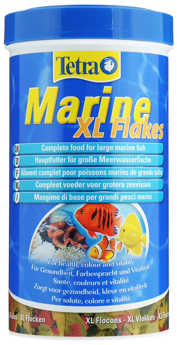 Корм Tetra Marine. XL Flakes для любых морских рыб, крупные хлопья, 500 мл (80 г)0120710Корм Tetra Marine. XL Flakes - полноценный основной корм для мелких и крупныхморских рыб в виде хлопьев. Идеально сбалансированные компоненты (фукус,водоросли спирулины, высококачественные рыбные жиры и морские креветки)гарантируют полноценное и здоровое питание. Стандартные и крупные хлопья(XL) являются идеальным кормом для рыб средних и больших размеров. Рекомендации по кормлению: кормить несколько раз в день маленькимипорциями.Состав: рыба и побочные рыбные продукты, растительные продукты,экстракты растительного белка, дрожжи, зерновые культуры, масла и жиры,водоросли, минеральные вещества.Пищевая ценность: сырой белок - 46%, сырые масла и жиры - 8,5%, сыраяклетчатка - 2%, влага - 6%.Добавки: витамины, провитамины и химические вещества с аналогичнымвоздействием, витамин А 36400 МЕ/кг, витамин Д3 2045 МЕ/кг. Комбинацииэлементов: Е5 Марганец 78 мг/кг, Е6 Цинк 46 мг/кг, Е1 Железо 30 мг/кг, Е3Кобальт 0,6 мг/кг. Красители, антиоксиданты.Товар сертифицирован.