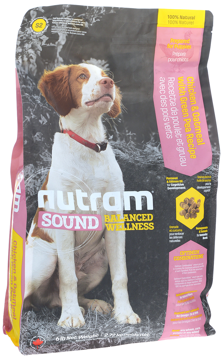 Корм сухой Nutram Sound Puppy для щенков, 2,72 кг79576Целостный, полезный, богатый питательными веществами корм Nutram Sound Puppy улучшает самочувствие и здоровье питомцев по принципу изнутри наружу. Подход Nutram к целостному питанию начинается со здорового развития. Семена льна и жир лососевых рыб - источники Омега-3 жирных кислот, поддерживают развитие мыслительных процессов у щенков. Смесь граната, богатого полифенолами, и куркумы, источника куркумина, позволяет системе Оптимальных Сочетаний снабжать питомцев антиоксидантами, которые помогают поддерживать иммунную систему. Вы можете быть уверены, щенок будет здоровым, а его питание будет вкусным и полезным.Содержит мясо курицы, овсяную муку и зеленый горошекНатуральная клетчатка тыквы помогает сделать переход от материнского молока к корму более легкимЖир лососевых рыб и семена льна используются в качестве источника полиненасыщенных и Омега-3 жирных кислотНе содержит пшеницу, кукурузу, картофель или сою в любом виде.Состав: дегидрированное мясо курицы, мясо курицы без костей, овсяная мука, коричневый рис, перловая крупа, куриный жир, зеленый горошек, льняное семя, натуральный ароматизатор курицы, дегидрированное мясо лосося, цельные яйца, сушеная свекольная масса, томатный жмых, яблоко, морковь, жир лососевых рыб, тыква, хлористый калий, Di-метионин, хлорид холина, гранат, клюква, морская соль, корень цикория (пребиотик), клетчатка из подорожника, витамины и минералы (витамин Е, А, D3, В3, С, В5, В1, В2, бета-каротин, В6, В9, В7, В12, протеинат цинка, сульфат меди, протеинат марганца, оксид марганца, йодат кальция, селенит натрия), юкка шидигера, шпинат, семена сельдерея, мята перечная, ромашка, куркума, имбирь, розмарин сушеный.Гарантированный анализ: протеин минимум 27%, жир минимум 17%, клетчатка максимум 3%, вода максимум 10%, зола максимум 8%, кальций минимум 1%, фосформинимум 0,9%, омега-3 минимум 0,65%, омега-6 минимум 2,6%, докозагексаеновая кислота минимум 0,01%.Товар сертифицирован.