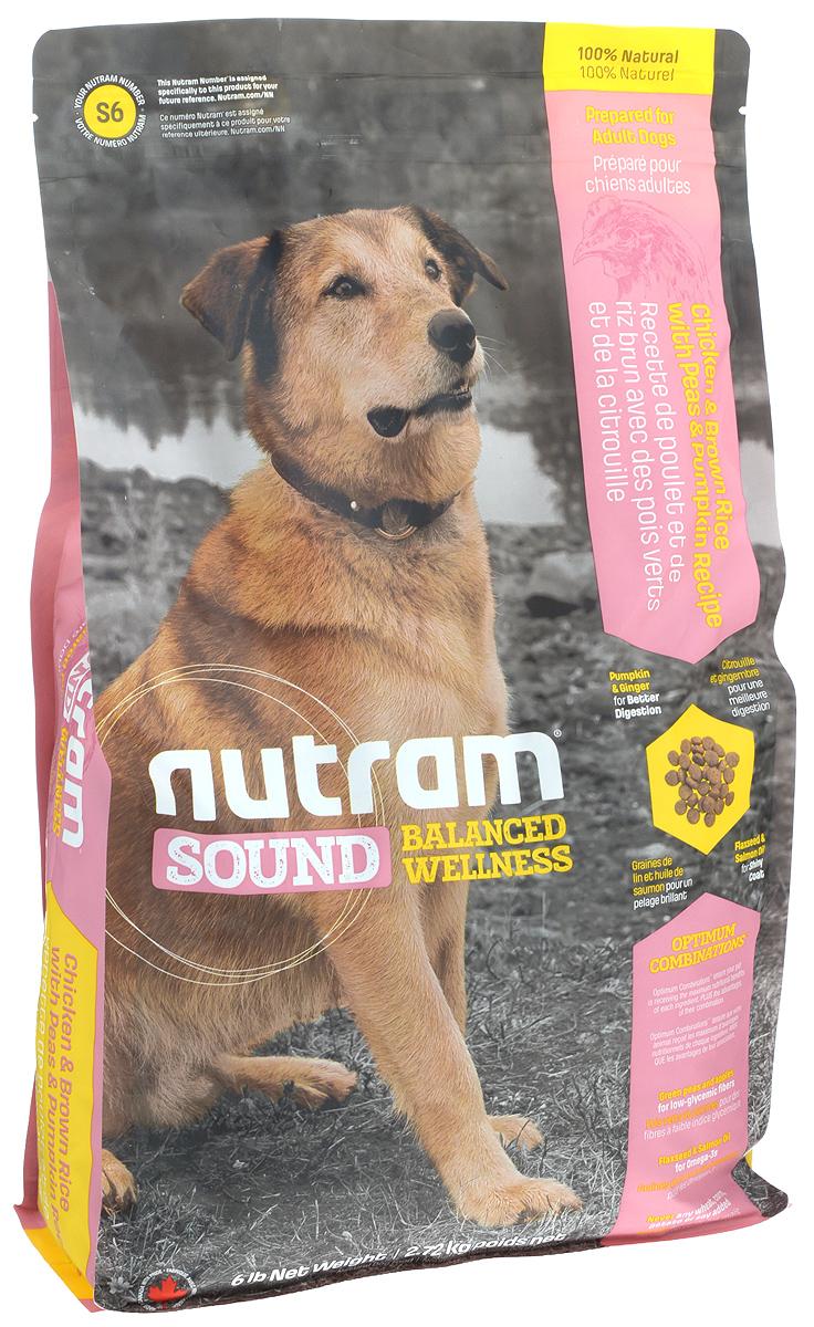 Корм сухой Nutram Sound Adult Dog для взрослых собак, 2,72 кг0120710Сухой корм для собак Nutram Sound Adult Dog - натуральный сбалансированный корм для взрослых собак. Целостный, полезный, богатый питательными веществами сухой корм для собак улучшает самочувствие и здоровье питомцев по принципу изнутри наружу. В составе корма содержатся яблоки и зеленый горошек - продукты с низким гликемическим индексом и высоким содержанием клетчатки. Пищевые волокна этих продуктов улучшают пищеварение и продлевают ощущение сытости. Также в составе корма содержится лосось и льняное семя - натуральные источники омега-3 жирных кислот, которые обеспечивают питательными веществами для поддержания здоровой кожи и блестящей шерсти. Состав: дегидрированное мясо курицы, мясо курицы без костей, коричневый рис, овсяная мука, перловая крупа, зеленый горошек, куриный жир, сушеная свекольная масса, тыква, люцерна, натуральный куриный ароматизатор, яблоко, морковь, цельные яйца, льняное семя, жир лососевых рыб, хлористый калий, DL-метионин, хлорид холина, гранат, клюква, морская соль, корень цикория (пребиотик), витамины и минералы (витамин E, А, D3, B3, C, B5, B1, B2, B6, B9, B7, B12, бета-каротин, протеинат цинка, сульфат железа, протеинат железа, оксид цинка, протеинат меди, сульфат меди, протеинат марганца, оксид марганца, йодат кальция, селенит натрия), глюкозамин, юкка шидигера, шпинат, семена сельдерея, мята перечная, ромашка, куркума, имбирь, розмарин сушеный. Гарантированный анализ: протеин минимум 24%, жир минимум 15%, клетчатка максимум 4%, вода максимум 10%, зола максимум 7,5%, кальций минимум 0,80%, фосфор минимум 0,75%, омега-3 минимум 0,25%, омега-6 минимум 2,3%. Содержание калорий: 3815 ккал/кг.Товар сертифицирован.