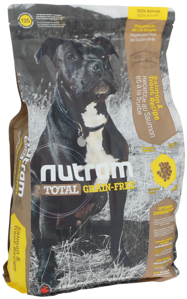 Корм сухой для собак Nutram, беззерновой, из мяса лосося и форели, 2,72 кг0120710Сухой корм для собак Nutram - это натуральный полнорационный корм для собак без содержания зерна. В составе корма: - Углеводы с низким гликемическим индексом (ГИ), полученные из бобовых (турецкий горох и зеленый горошек); - Органические пребиотики (морские водоросли и инулин агавы); - Мощные продукты, такие как лебеда, семена чии, свежие ягоды, гранат и капуста; - Свыше 90% свежих фруктов и овощей канадского производства; - Не содержит картофеля. Состав: мясо форели без костей, дегидрированное мясо лосося, зеленый горошек, дегидрированное мясо рыбы менхаден, бараний горох, чечевица, каноловое масло, мясо лосося без костей, натуральный овощной ароматизатор, жир лососевых рыб, яблоки, морковь, хлорид холина, тыква мускатная, киноа, клюква, черника, ежевика, листовая капуста, ламинария, корень цикория (пребиотик), витамины и минералы (витамин E, А, D3, B3, C, B5, B1, B2, B6, B9, B7, B12, бета-каротин, протеинат цинка, сульфат железа, протеинат железа, оксид цинка, протеинат меди, сульфат меди, протеинат марганца, оксид марганца, йодат кальция, селенит натрия), юкка Шидигера, зеленые мидии, шпинат, семена сельдерея, мята перечная, ромашка, куркума, имбирь, розмарин сушеный. Гарантированный анализ: протеин минимум 36%, жир минимум 17%, клетчатка максимум 5%, вода максимум 10%, зола максимум 7%, кальций минимум 1,4%, фосфор минимум 0,8%, омега-3 минимум 1,6%, омега-6 минимум 2,9%. Содержание калорий: 3925 ккал/кг.Товар сертифицирован.