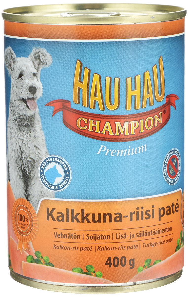 Консервы Hau-Hau Champion для собак, индейка с рисом, 400 г54221Консервы Hau-Hau Champion - это полноценный корм для собак любого возраста. Не содержит сои, пшеницы, пищевых добавок и красителей. Благодаря большому содержанию мяса продукт легко усваивается. Консервы можно давать собаке отдельно, так как они содержат все необходимые питательные вещества, или же смешивать с сухим кормом, чтобы сделать его еще более вкусным.Состав: мясо и продукты животного происхождения 95% (20% индюшатина), рис 4,1%, витамины и минералы.Питательная ценность: влажность 81%, белок 8,5%, масла и жиры 6%, пепел 2,5%, клетчатка 0,7%.Витамины и минералы: витамин А 3000 МЕ, витамин D3 300 МЕ, цинк 16 мг, железо 6,5 мг, медь 0,1 мг.Товар сертифицирован.