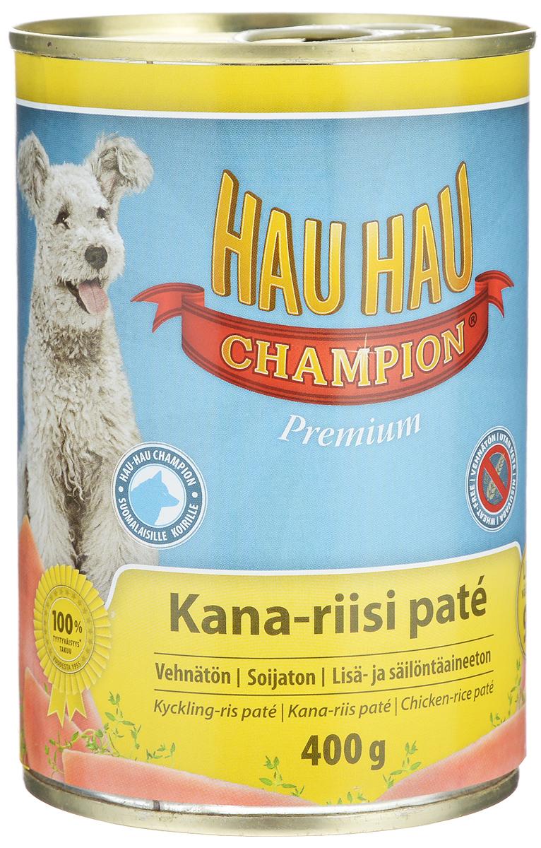 Консервы Hau-Hau Champion для собак, курица с рисом, 400 г57852Консервы Hau-Hau Champion - это полноценный корм для собак любого возраста. Не содержит сои, пшеницы, пищевых добавок и красителей. Благодаря большому содержанию мяса продукт легко усваивается. Консервы можно давать собаке отдельно, так как они содержат все необходимые питательные вещества, или же смешивать с сухим кормом, чтобы сделать его еще более вкусным.Состав: мясо и продукты животного происхождения 95% (50% курица), рис 4,1%, витамины и минералы.Питательная ценность: влажность 81%, белок 8,5%, масла и жиры 6%, пепел 2,5%, клетчатка 0,7%.Витамины и минералы: витамин А 3000 МЕ, витамин D3 300 МЕ, цинк 16 мг, железо 6,5 мг, медь 0,1 мг.Товар сертифицирован.