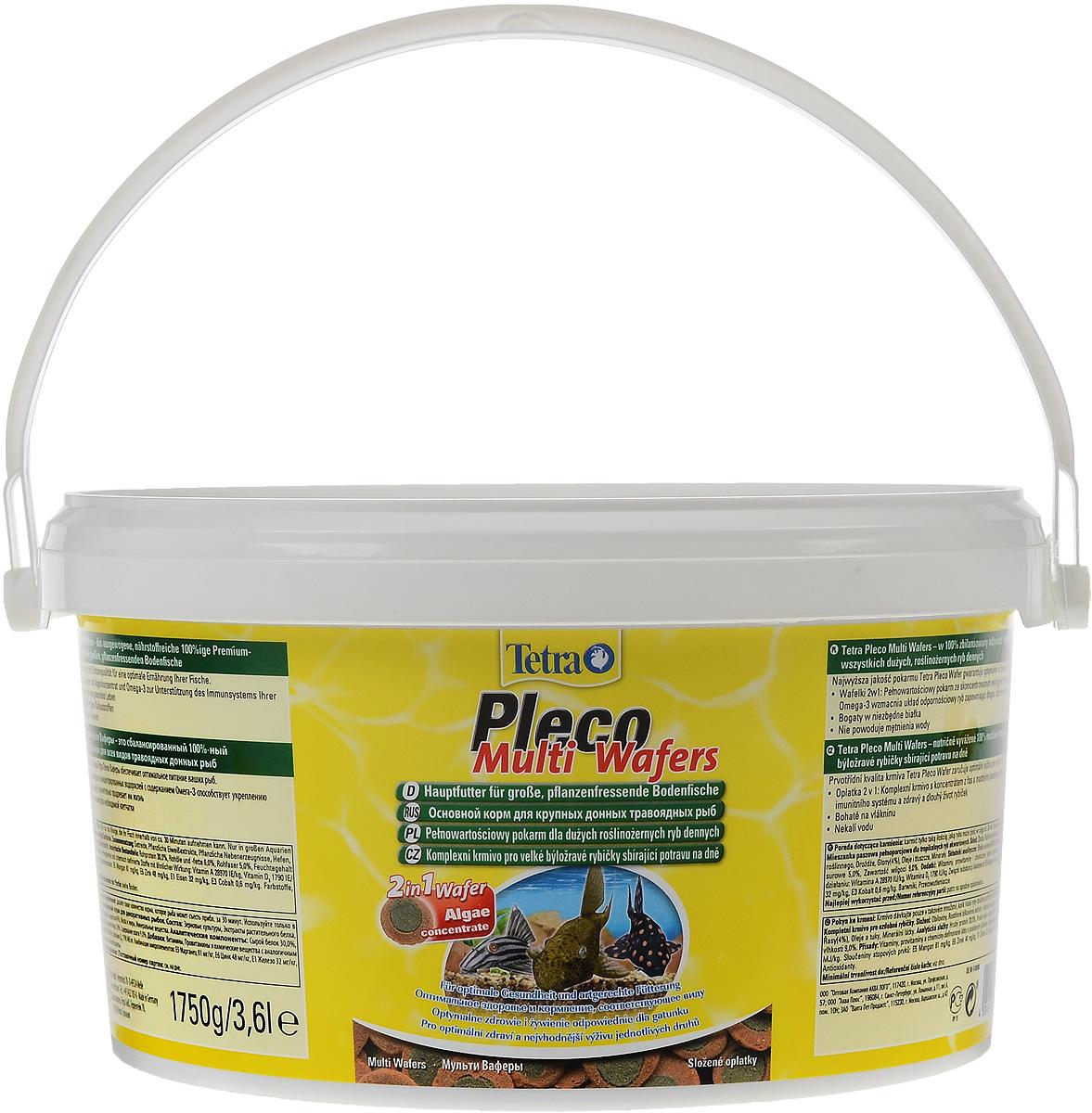 Корм Tetra Pleco. Multi Wafers для крупных травоядных донных рыб, пластинки, 3,6 л (1,75 кг)193840Корм Tetra Pleco. Multi Wafers - это 100% растительная кормовая смесь для крупных травоядных донных рыб. Корм состоит из концентрированных водорослей с содержанием Омега-3, а так же содержит большое количество необходимой клетчатки, что способствует укреплению иммунной системы рыб и значительно продлевает им жизнь.Не мутит воду. Рекомендации по кормлению: Давайте такое количество корма, которое рыба может съесть приблизительно за 30 минут. Используйте только в больших аквариумах.Состав: зерновые культуры, экстракты растительного белка, растительные продукты, дрожжи, водоросли (4%), масла и жиры, минеральные вещества.Добавки: витамины, провитамины и химические вещества с аналогичным воздействием: витамин А 28970 МЕ/кг, витамин Д3 1790 МЕ/кг. Комбинации элементов: Е5 Марганец 81 мг/кг, Е6 Цинк 48 мг/кг, Е1 Железо 32 мг/кг, Е3 Кобальт 0,6 мг/кг. Красители, антиоксиданты.Товар сертифицирован.