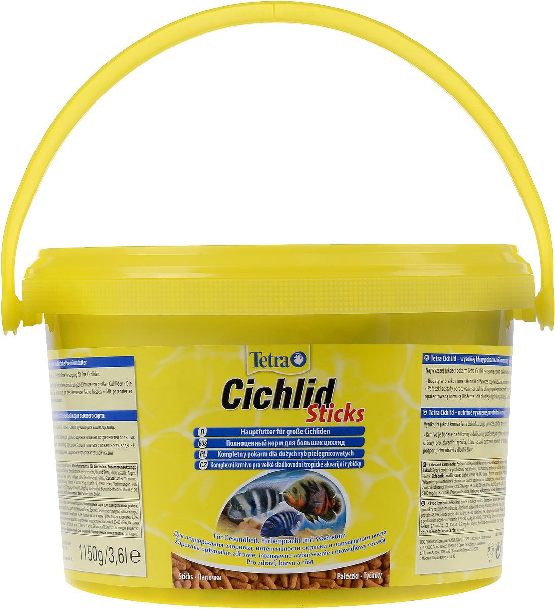 Корм сухой Tetra Cichlid. Sticks для больших цихлид, палочки, 3,6 л (1,15 кг)24Корм Tetra Cichlid. Sticks - это биологически сбалансированный корм в виде палочек, предназначенный для больших цихлид. Корм богат белками и другими питательными веществами для удовлетворения пищевых потребностей больших цихлид,Палочки разработаны специально для цихлид, предпочитающих питаться с поверхности воды. Запатентованная формула BioActive поддерживает здоровую иммунную систему рыб. Рекомендации по кормлению: кормите не менее 2-3 раз в день в таком количестве, которое ваши рыбы могут съесть в течение нескольких минут.Состав: рыба и побочные рыбные продукты, растительные продукты, экстракты растительного белка, дрожжи, зерновые культуры, масла и жиры, водоросли, минеральные вещества. Аналитические компоненты: сырой белок - 46%, сырые масла и жиры - 8%, сырая клетчатка - 2%, влага - 6%. Добавки: витамины, провитамины и химические вещества с аналогичным воздействием, витамин А 30480 МЕ/кг, витамин Д3 1900 МЕ/кг. Комбинации элементов: Е5 Марганец 69 мг/кг, Е6 Цинк 41 мг/кг, Е1 Железо 27 мг/кг, Е3 Кобальт 0,5 мг/кг. Красители, антиоксиданты.Товар сертифицирован.
