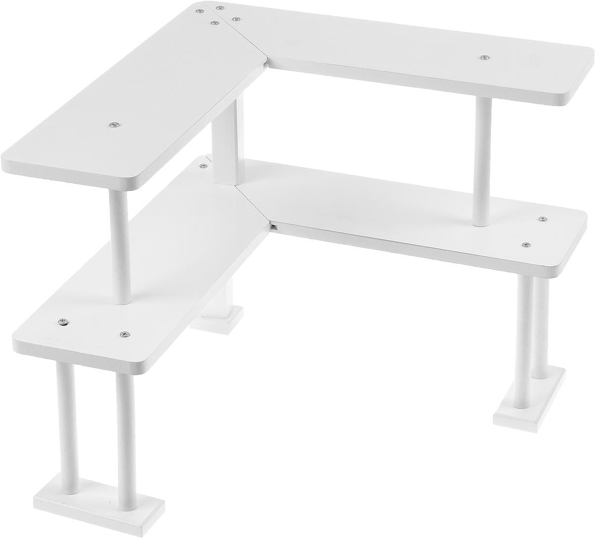 Полка угловая Mayer & Boch, 2-х ярусная. 2424980621Деревянная угловая полка Mayer Boch - удобная и практичная конструкция, которая поможет вам правильно и рационально организовать рабочее пространство на вашем письменном столе. Полка представляет собой угловую двухъярусную конструкцию на высоких ножках, что позволяет использовать каждый сантиметр вашего стола с пользой и умом. В такой полке можно расположить все необходимые письменные принадлежности, документы или книги. Стильный и современный дизайн конструкции позволит ей вписаться в любой интерьер.Полка поставляется в разобранном виде и собирается при помощи саморезов (входят в комплект).Размер полки в собранном виде: 37 х 37 х 34 см.Высота нижнего яруса: 17,5 см.Высота верхнего яруса: 16,5 см.Глубина полки: 11,5 см.