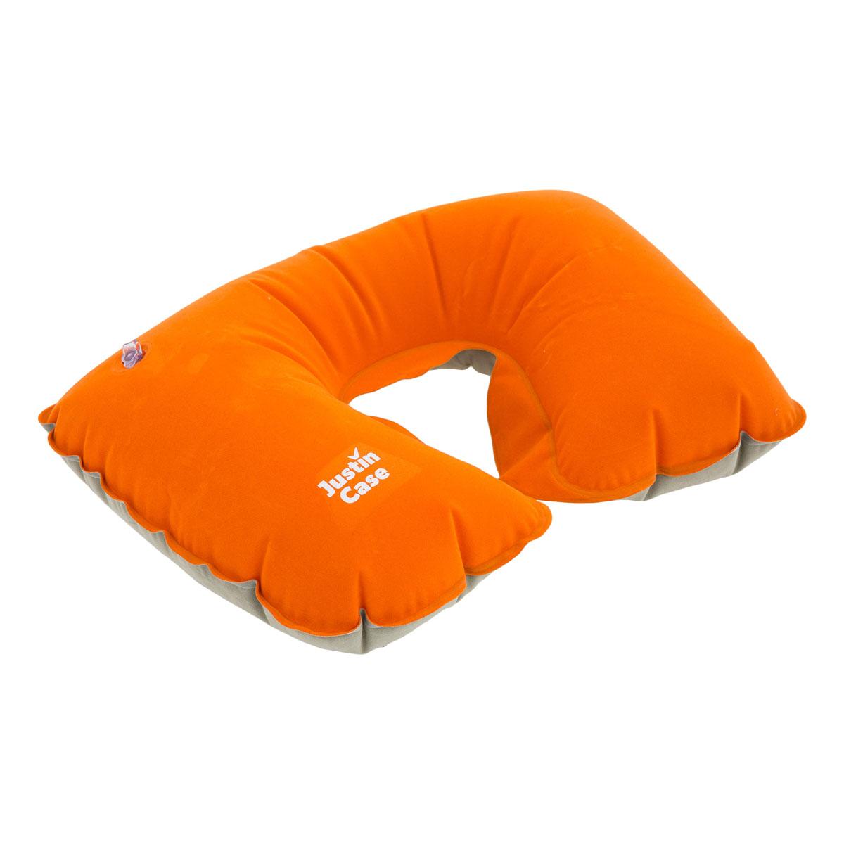 Надувная подушка для путешествий JustinCase, цвет: серо-оранжевый. E5502O купить ортопедическую подушку недорого