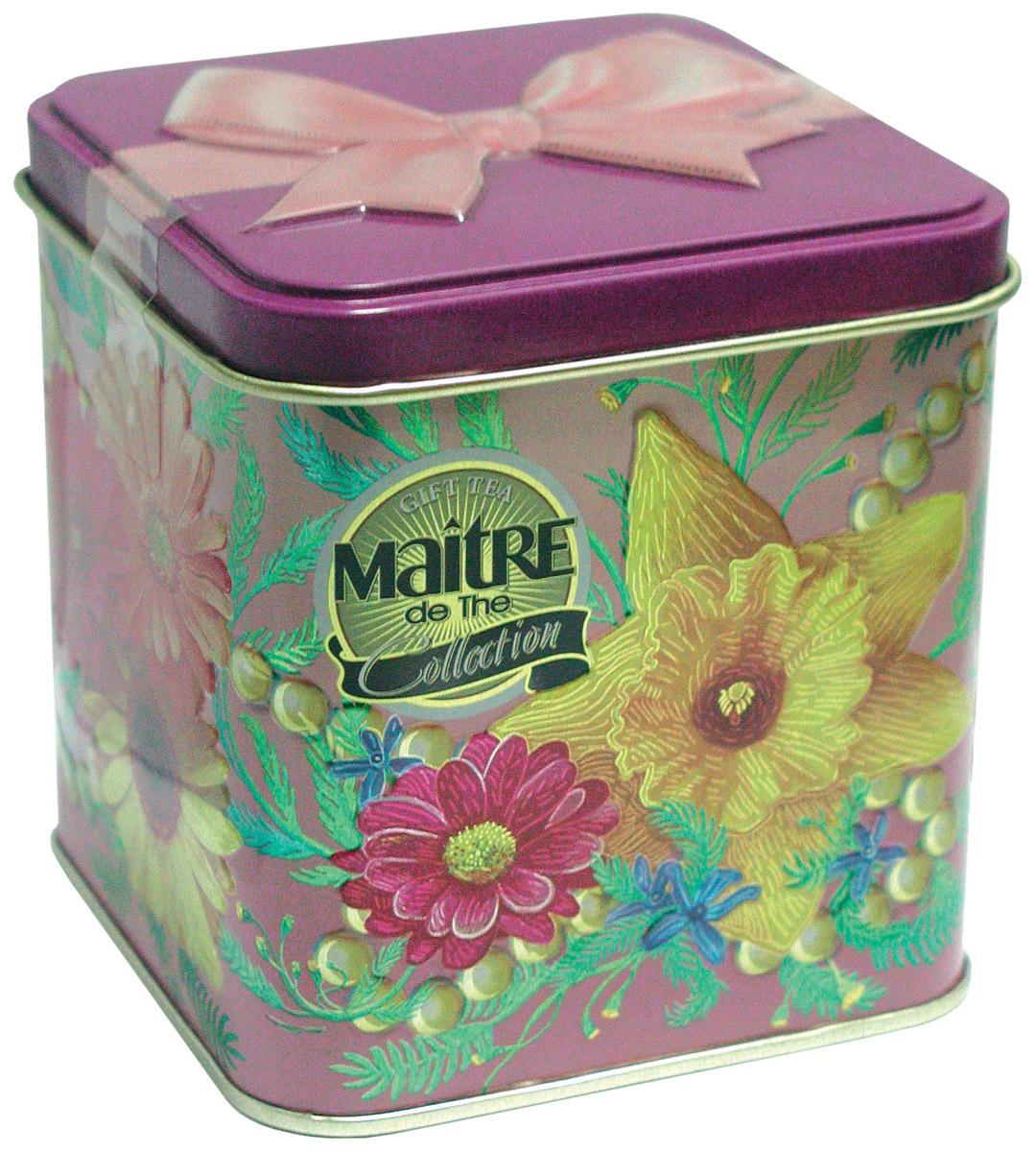 Maitre Дамский каприз черный листовой чай, 100 г101246Maitre Дамский каприз - это черный байховый индийский крупнолистовой чай. Яркая жестяная банка с изображением цветов и игривым бантом на крышке придется по вкусу каждой женщине.