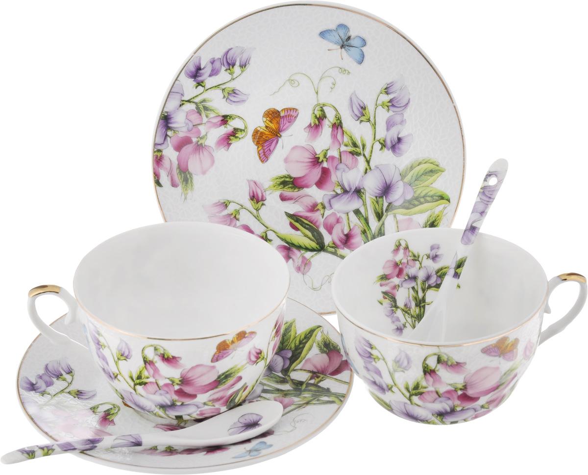Набор чайный Elan Gallery Душистый цветок, 6 предметовVT-1520(SR)Чайный набор Elan Gallery Душистый цветок состоит из 2 чашек, 2 блюдец и 2 ложечек,изготовленных из высококачественной керамики. Предметы набора декорированы изображением цветов.Чайный набор Elan Gallery Душистый цветок украсит ваш кухонный стол, а такжестанет замечательным подарком друзьям и близким.Набор упакован в подарочную коробку с атласной подложкой. Не рекомендуется применять абразивные моющие средства. Не использовать в микроволновой печи.Объем чашки: 250 мл.Диаметр чашки по верхнему краю: 9,5 см.Высота чашки: 6 см.Диаметр блюдца: 15 см.Длина ложки: 12,5 см.