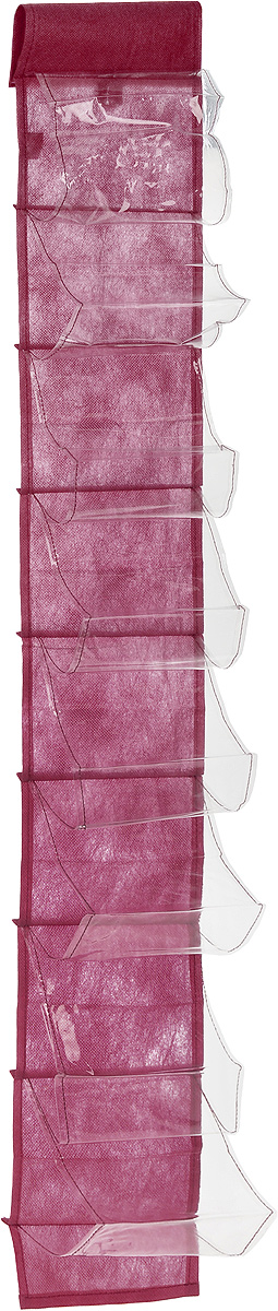Чехол-карман для мелочей Eva, подвесной, цвет: бордовый, 120 х 16 смRG-D31SПодвесной чехол-карман Eva, выполненный из спанбонда и ПВХ, предназначен для хранения мелочей. Изделие оснащено 8 вместительными карманами. С помощью специальной петельки и липучек чехол можно разместить на стене, за дверью или в шкафу. Особая конструкция позволяет, при необходимости, одним движением сложить или разложить полку. .С таким чехлом-карманом вы сможете поддерживатьпорядок в доме и решить проблему хранения одежды, игрушек и разбросанных мелочей...Размер чехла: 120 х 16 см..Количество карманов: 8 шт.