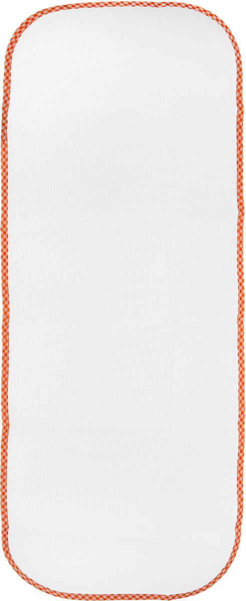 Сетка для глажения Хозяюшка Мила Silk & Wool, цвет: оранжевый, белый, 35 х 90 смGC204/30Сетка для глажения Хозяюшка Мила Silk & Wool выполнена из 100% лавсана. Изделие подходит для одежды из шелка, шерсти и трикотажа. Прекрасная современная альтернатива марлевой тряпочке, которую использовали наши мамы и бабушки. Аккуратная сетка с оптимальным размером плетения станет незаменимым помощником при глажке белья. Сетка защищает белье от прижигания, исключает контакт горячего утюга с тканью, позволяет быстро и ровно сделать стрелки на брюках. Предназначена для температурного режима Silk & Wool.