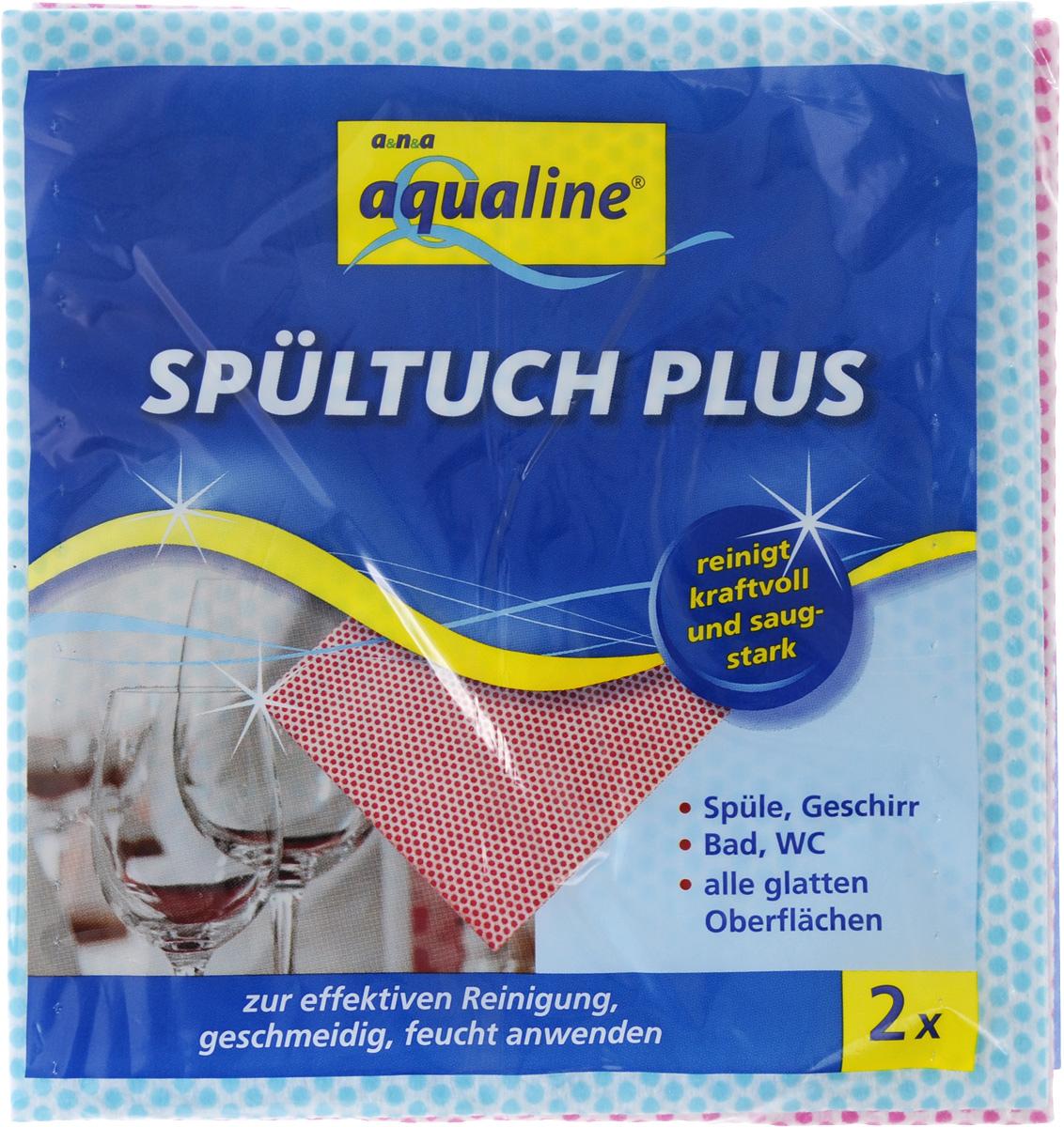 Салфетка Aqualine Plus для посуды и домашнего хозяйства, цвет: голубой, малиновый, 35 х 38 см, 2 шт531-105Мягкая салфетка Aqualine Plus обладает высокими чистящими свойствами за счет специальных точек, которые находятся на поверхности ткани. Она прекрасно подходит как для мытья посуды, так и для уборки поверхностей на кухне и в ванной комнате. Благодаря рифленой структуре, салфетка удаляет даже самые сильные загрязнения, хорошо впитывая жидкость, не оставляя ворсинок.Состав: 82% вискоза, 18% полипропилен.